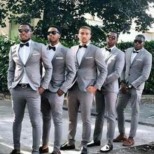 Twee Knop Bruidsjonkers Grijze Mannen Pak Blazers Party Prom Jas + Broek Bruidegom Wedding Suits Notched Revers Smoking Trajes de hombre(China)