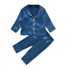 Детские пижамы шелковые атласные топы и штаны осенне зимняя