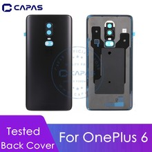 For OnePlus 6 Back Battery Cover Metal + Plastic For OnePlus 6 Battery Cover + Camera Glass Lens Replacement Spare Repair Parts