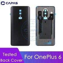 Para oneplus 6 voltar bateria capa de metal + plástico para oneplus 6 bateria capa + câmera lente vidro substituição peças reparo