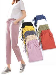 Harem Trousers Summer Pants Spring Elastic-Waist Cotton Linen Candy-Colors Female Womens