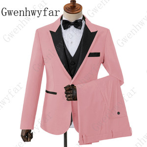 Image 1 - بدلة رجالية باللون الوردي مع الأسود لطية صدر السترة للرجال تُصمم حسب الطلب بدلة رجالية مخصصة للزفاف من 3 قطع من Terno (جاكيت + بنطلون + سترة)