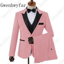 Pink With Black Lapel Suits for Men Custom Made Terno Slim Groom Custom 3 Piece Wedding Mens Suit Masculino(Jacket+Pant+Vest)