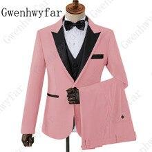 Розовый с черным костюмы с лацканами для мужчин на заказ Terno Тонкий Жених на заказ 3 шт свадебный мужской костюм Masculino (пиджак + брюки + жилет)