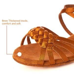 Женская танцевальная обувь для латинских танцев для девочек; Детская танцевальная обувь для бальных танцев и сальсы; Белые танцевальные туфли на низком каблуке для танго; Оптовая продажа; latino mujer