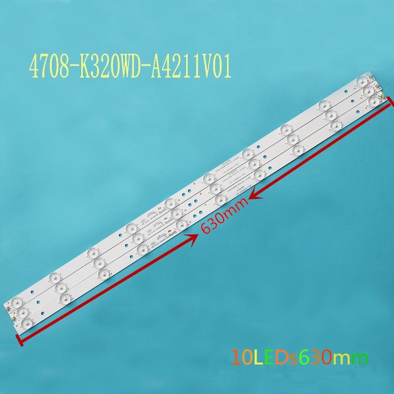 Новинка 100%, 32-дюймовая Светодиодная лампа с алюминиевой подложкой, 10 светодиодный п, освещение для ЖК-телевизора, s a, лампа, проекционный объ...
