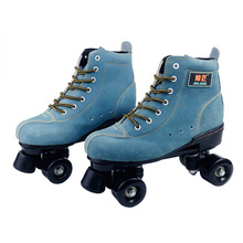 Adult  Artificial Leather Roller Skates Double Line Two Skating Shoes Patines With Black PU 4 Wheels Japy