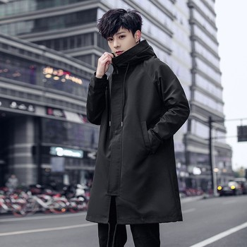 Autumn Windbreaker Men Loose Fit Hoody Trench Casual Safari Style Mid Long Coat Teenager Outerwear Trench Solid Colors Plus Size