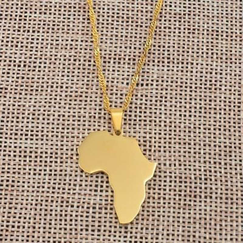 Klasyczna mapa afryki naszyjnik i wisiorek dla kobiet i mężczyzn naszyjnik złoty kolor srebrny Collier Afrique biżuteria