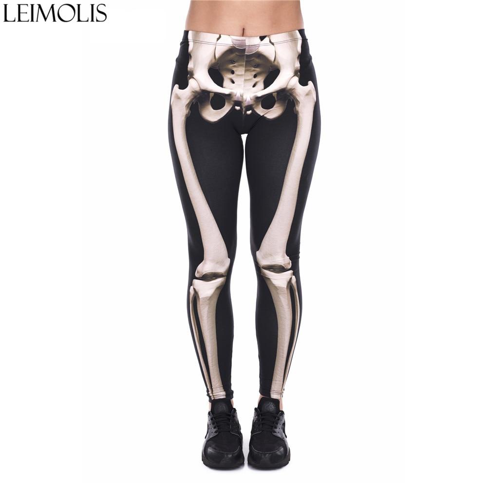 LEIMOLIS 3D Print Gothic Bone Skeleton Black Fitness Push Up Workout Leggings Women Harajuku High Waist Punk Rock Sexy Leggins