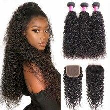 Kinky Curly Human Hair Bundles with Closure 100% Unprocessed Brazilian Virgin Human Hair 3 Bundles with Closure Natural Color