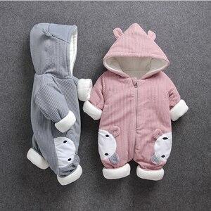 Image 1 - Ensemble de vêtements pour bébés, tenue dhiver froide, à capuche, pour nouveau né, ensemble de vêtements épais, barboteuse 40, décontracté
