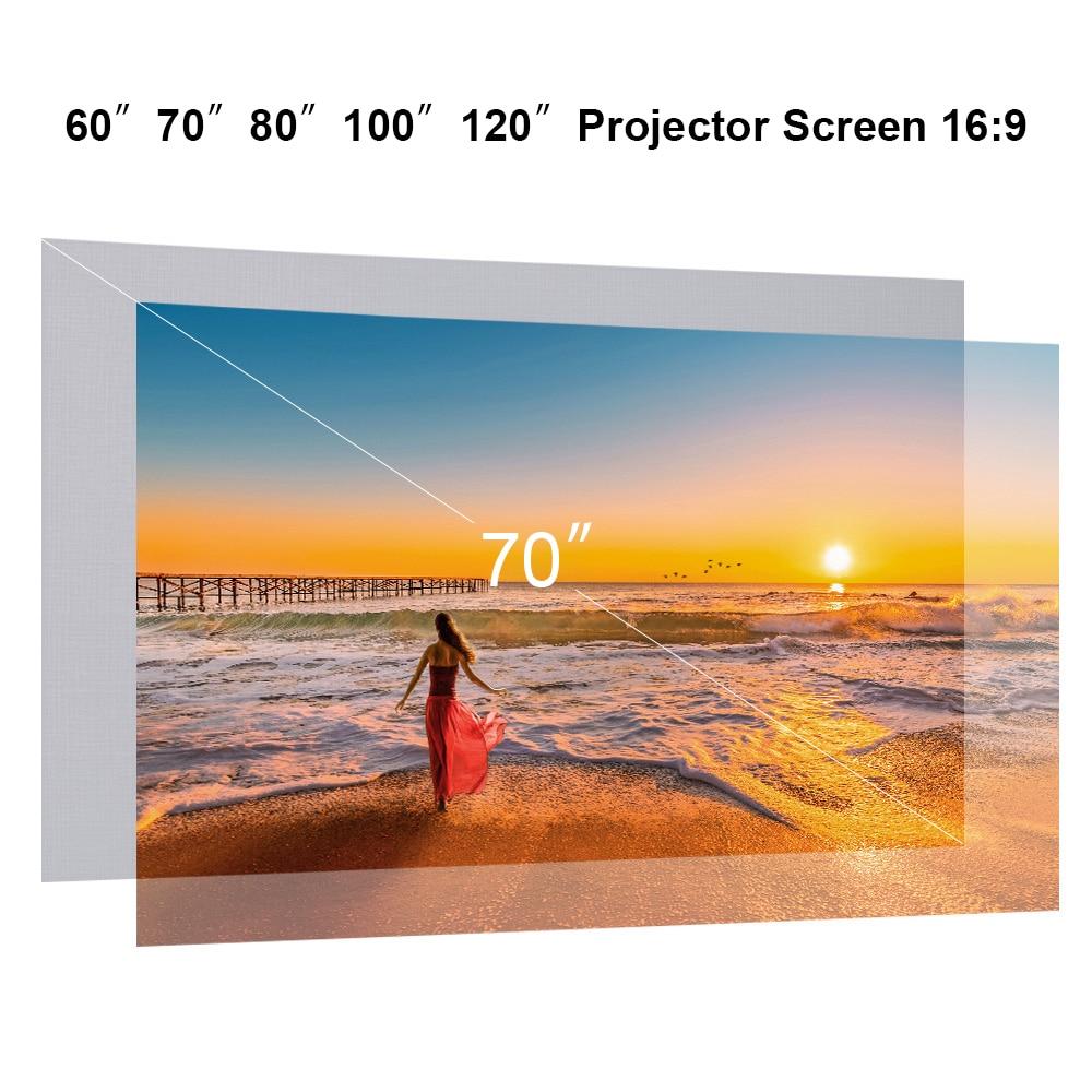 60/70/80/100 inç projeksiyon perdesi katlanabilir duvara monte HD 169 çerçevesiz Video projeksiyon ekranı ev sineması ofis filmler