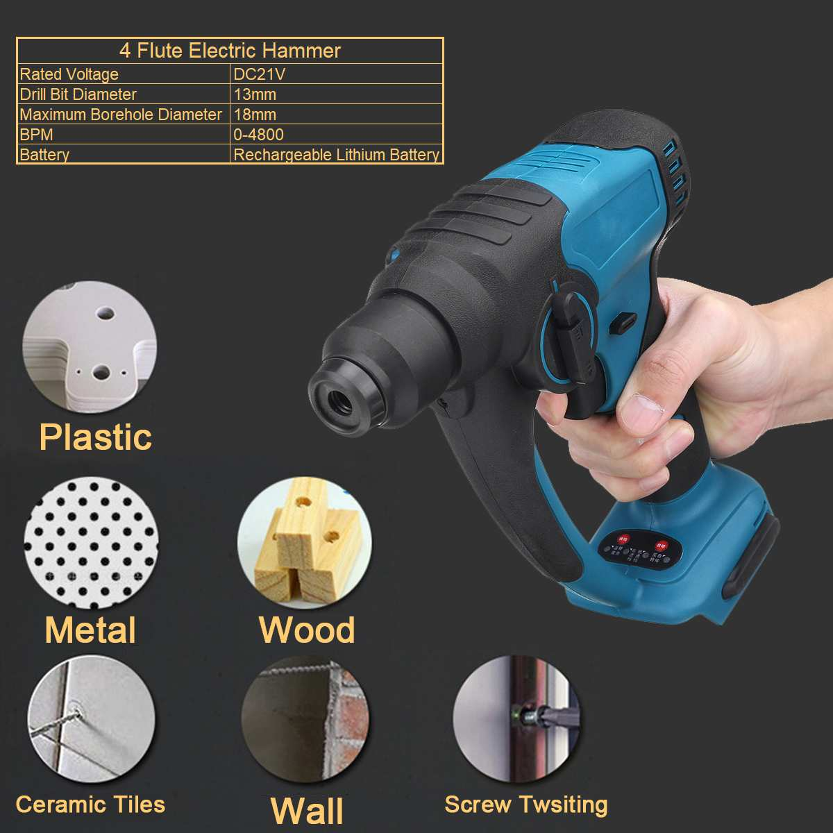 Multifunctional 4 Flute Wireless Electric Rotary Hammer For Makita 18V Battery