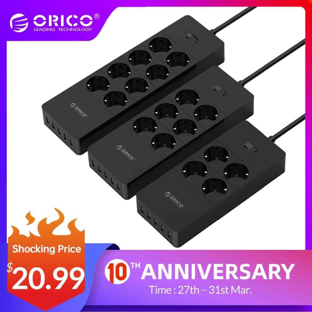 ORICO toma de corriente EU extensión de enchufe Protector contra sobretensiones EU tira de alimentación con 5x2.4A puertos USB Super cargador