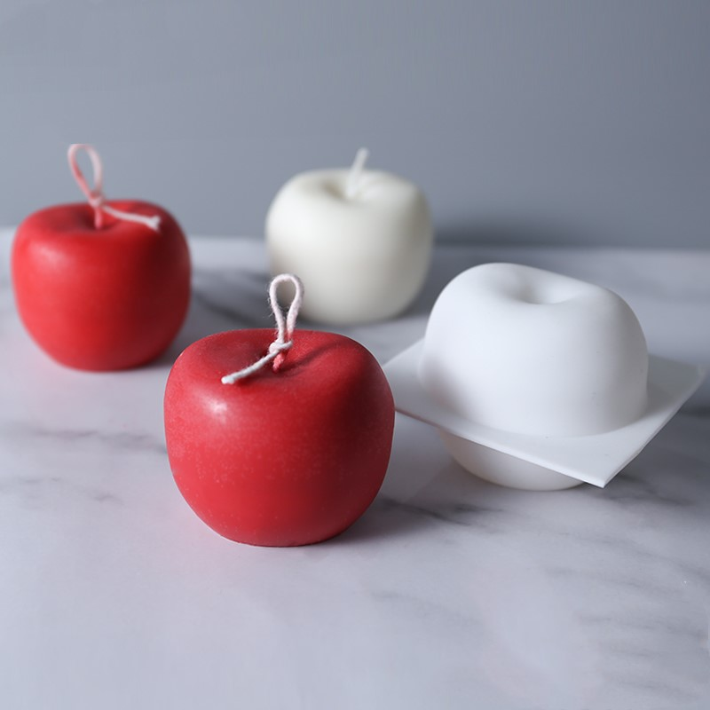 Apple Candles Mold Christmas' Eve Parties Gifts Wedding Party Decoration Apple Shape Silicone Soap Molds For Cake Mousse Mould