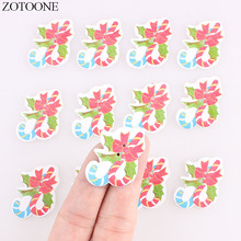 ZOTOONE Cute Christmas Wooden Buttons 50PCS Noel Accessories Scrapbooking for Coat DIY Craft Decoration Colorful Sewing Button E
