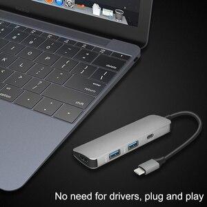 Image 5 - 4 in 1 USB C 허브 USB C HDMI 4K 허브 USB 3.0 어댑터 PD/마이크로 Usb 충전 포트 MacBook Pro 용 Samsung Galaxy S8 type C HUB