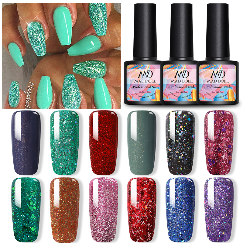 MAD DOLL 1 Bottle 8ml Nail Gel Polish Green Purple Colorful Glistening Bling Sequins Long Lasting Soak Off UV Nail Art Gel