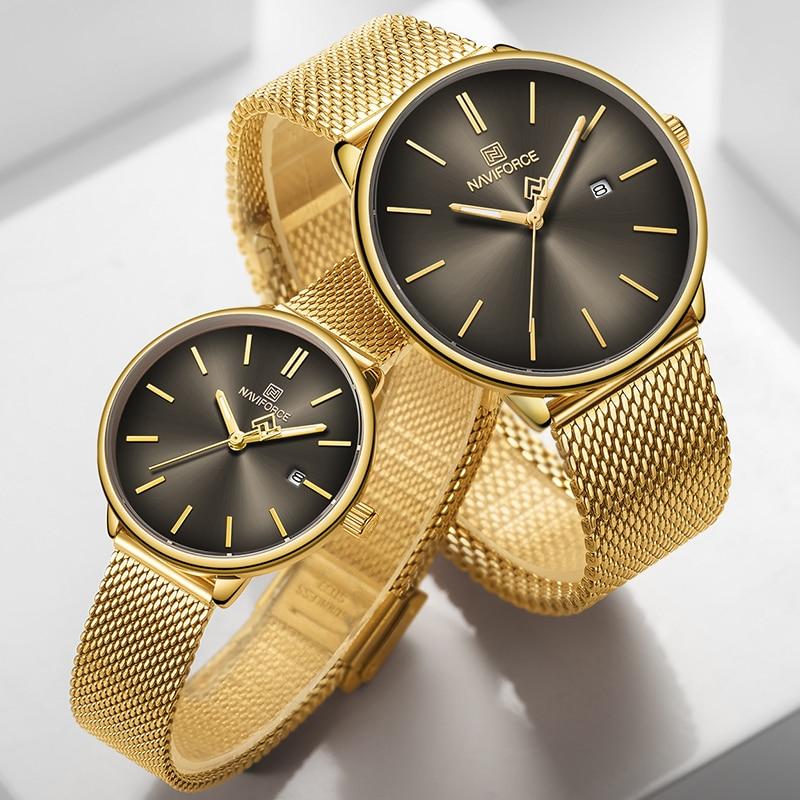 New NAVIFORCE Quartz Lovers Watch Women Luxury Top Brand Stainless Steel Mesh Strap Watches Couple Fashion Men WristWatches 2020