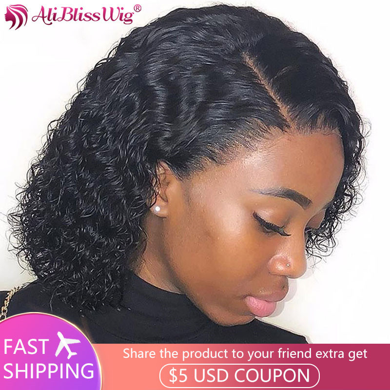 Brazilian Curly Human Hair Wigs For Black Women 13x4 Lace Front Human Hair Wigs Pre Plucked Short Curly Bob With Baby Hair Remy