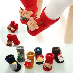 Детские носки для малышей с рождественской куклой теплые детские носки с оленем для новорожденных Нескользящие рождественские носки для м...