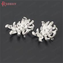 Breloques à fleurs en laiton 24x18MM 24K, couleur Champagne or ou argent, pendentifs pour la fabrication de bijoux, fournitures et accessoires, 6 pièces