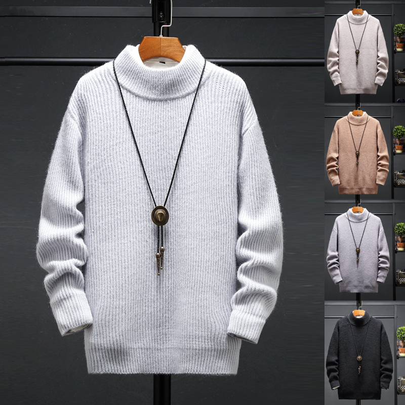 2019 Autumn Winter New Men's Turtleneck Sweater Solid Color Knitted Pullover Sweaters Male Casual High Neck Knitwear Tops M-5XL
