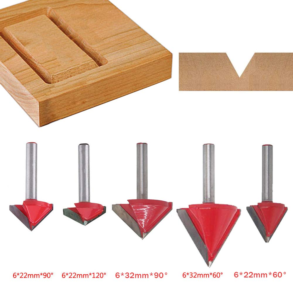5PCS(60 Deg+<font><b>90</b></font> Deg+<font><b>120</b></font> Deg) Shank-6mm Width-22/32mm,CNC Engraving 3D V Groove Router Bit ,Woodworking Cutter Tool Sets image