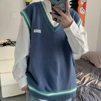 Sweater Vest Men V neck Shrug Patchwork Knitted Couples Ins Plus Size 3XL Oversize Harajuku