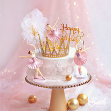 "Hook Flower ""Happy Birthday"" Cake Toppers 3PC White Pink Ballet Girls Decor Wedding Party Supplies Baking Sweet Gifts"
