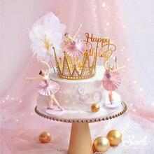 """וו פרח """"יום הולדת שמח"""" עוגת Toppers 3PC לבן ורוד בלט בנות דקור חתונת ציוד אפיית מתוק מתנות"""
