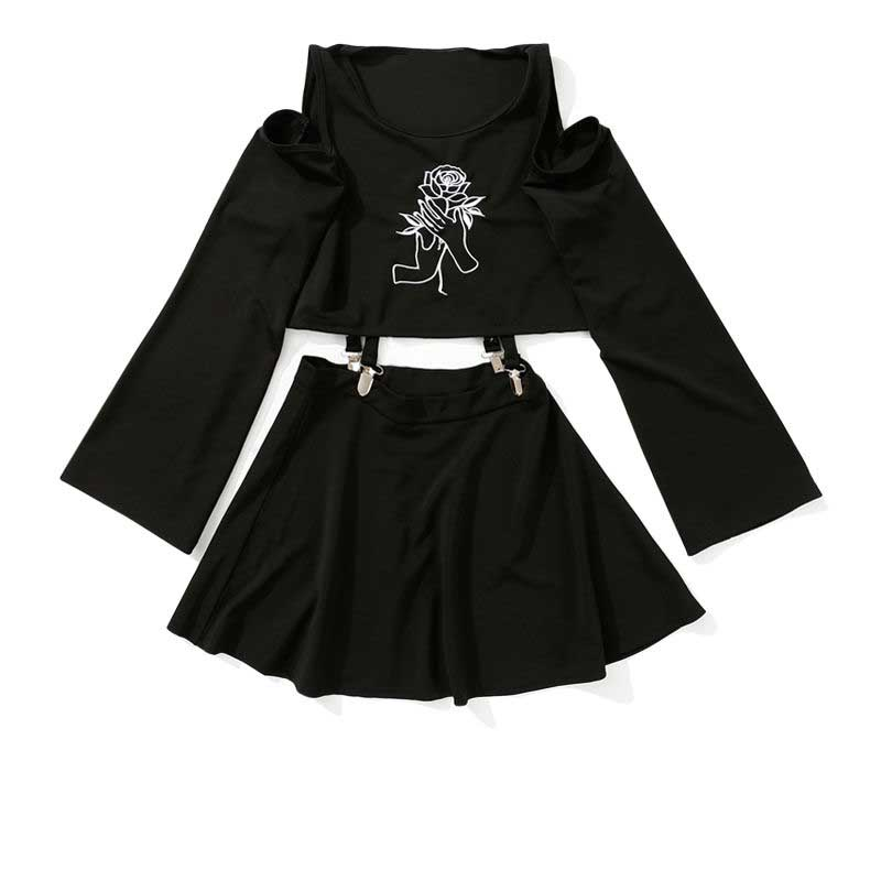 Harajuku Women's Dress Handheld Rose Embroidery Black Short Mini A-Line Punk Style Dress Female Sets 2019 New Two Pieces