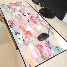 XGZ Pink and White Flowers Locking Edge Gaming Mouse Pad Gamer Game Anime Mousepad Mat Speed Version for Dota2 LOL