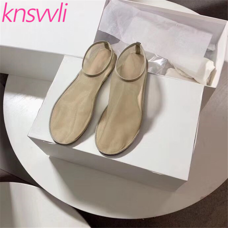 Stretch Mesh Cloth Flat Ballet Shoes Woman Genuine Leather Round Casual Shoes Ladies Apricot Black Loafer Shoes Zapatos De Mujer