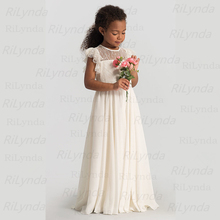 Flower Girl Dresses First-Communion-Dresses Princess-Dress White Kids Bow Bow-Shoulder