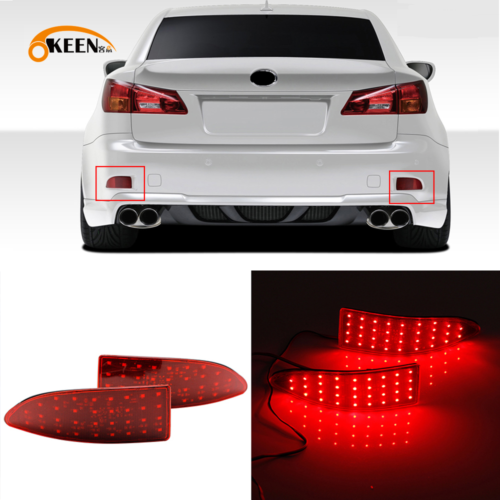 12V LED Red Rear Bumper Reflector <font><b>Lights</b></font> For <font><b>Lexus</b></font> <font><b>IS250</b></font> IS300 IS350 2006 2007 2008 2009 2010 2011 2012 2013 Auto <font><b>Tail</b></font> Lamp image