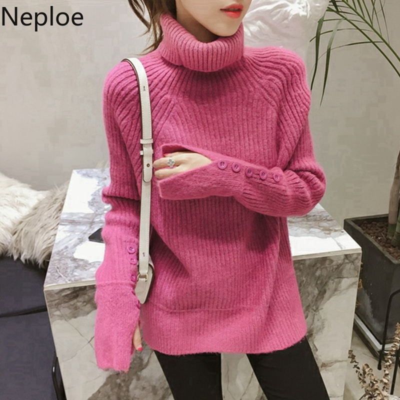 Neploe Turtleneck Thick Pullover Sweater 2019 Women Autumn Winter Button Split Long Sleeve Knit Jumper Oversize Pull Femme 54461
