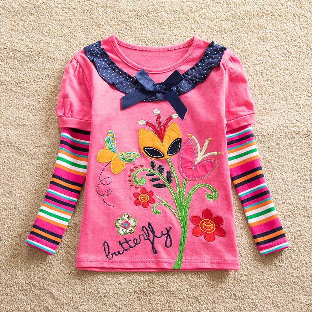 Toddler Casual Blouse Baby Girls Kid Flower Embroidery Long Sleeve O-neck Blouse Tops Fashion Girls Daily Autumn New Clothes