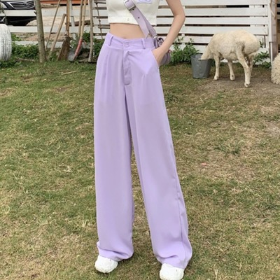 Woman Trousers Spring Autumn Casual Loose Purple Long Pants Fashion High Waist Office Suit Wide Leg Pants Loose Trousers