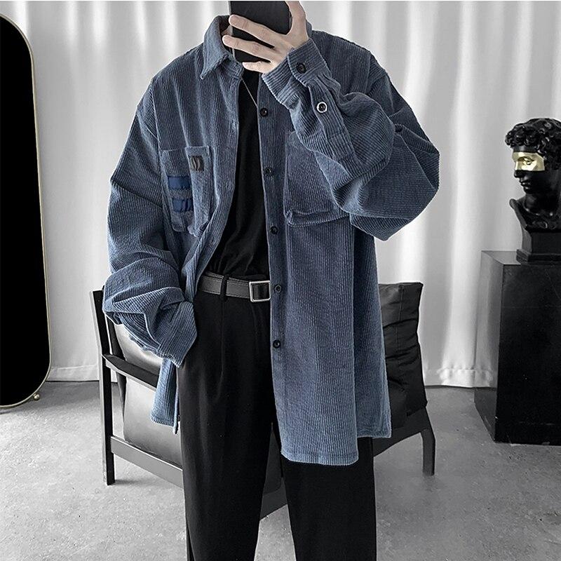 2020 Vintage corduroy men's autumn and winter all-around stickers men's Korean loose fashion clothes