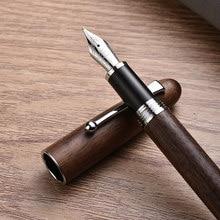 Jinhao nova caneta de madeira alta qualidade 0.7mm nib 2 cores tinta de madeira luxo canetas presentes do negócio escrita escritório escola supplie