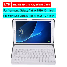 Bluetooth 3.0 Tablet Keyboard Case For Samsung Galaxy Tab A T580/T585 10.1 inch Mediapad Stand Flip Leather Cover With Keyboard цена 2017