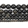 Очаровательные Круглые бусины из натурального камня золотистого обсидиана с венами, незакрепленные бусины для изготовления ювелирных изд...