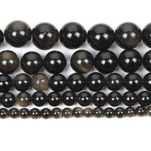 Natural de pedra ouro obsidian veias charme redondo grânulos soltos para fazer jóias para bordar contas diy costa 6/8/10/12mm