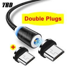 Ybd 1m duplo micro cabo magnético usb para samsung xiaomi redmi huawei honra ímã carregador do telefone móvel cabo de carregamento usb