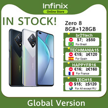 Nova versão global Infinix Zero 8 8GB 128GB Smart Phone 6,85 '' FHD 90Hz Full Screen 64MP Quad Camera 4500mAh Carregador de bateria 33W