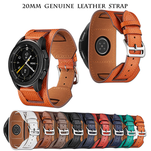 Image 1 - Cross Grain Genuine Leather Watchband For Samsung Galaxy Watch 3 41mm/42mm/Active 2 1 40mm 44mmm Universal Bracelet 20MM Strap