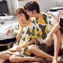 Pyjamas Sleepwear Couple Home-Clothing Loungewear-Lover Cotton Women's Summer Animal