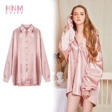 пижама женская hnmchief розовая Женская шелковая атласная ночная